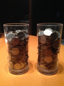 Anyone want to buy water? This is enough quarters to help 65 children drink clean water for a year.